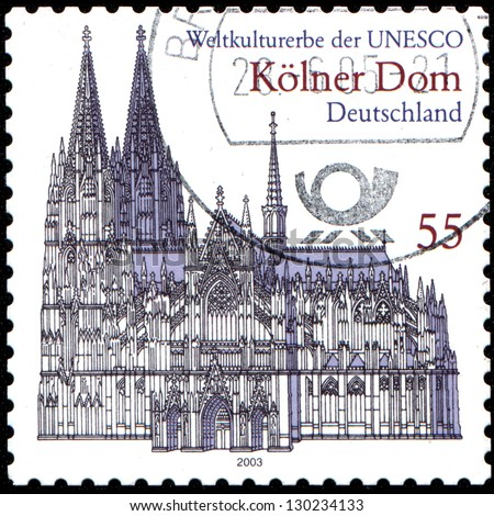 GERMANY - CIRCA 2003: A stamp printed in German Federal Republic shows Cologne Cathedral,  UNESCO World Heritage Site, circa 2003 - stock photo