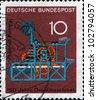 GERMANY - CIRCA 1968: A stamp printed in German Federal Republic  shows Koenig Printing Press, 150th anniversary of the Koenig printing press, circa 1968 - stock photo