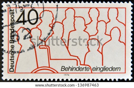 GERMANY - CIRCA 1974: A stamp printed in Germany dedicated to integration of disabled, circa 1974 - stock photo
