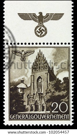 GERMANY - CIRCA 1940: A stamp printed in Germany showing buildings of Poland (Dominican Church, Krakow) , circa 1940 - stock photo