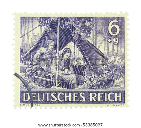 GERMANY - CIRCA 1943: A stamp printed in Germany showing radiologists circa 1943 - stock photo
