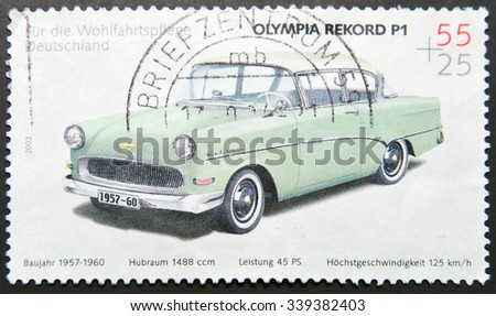 GERMANY - CIRCA 2003: A stamp printed in Germany shows a Opel olympia rekord p1, circa 2003 - stock photo