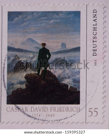 "GERMANY - CIRCA 2011:A stamp printed in Germany shows  a picture of ""Wanderer above the Sea of Fog"" by Caspar David Friedrich,circa 2011 - stock photo"