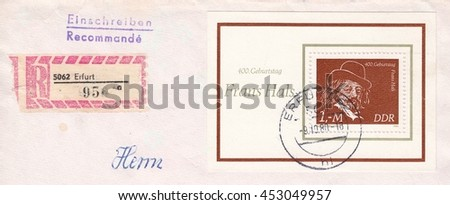 "GERMANY-CIRCA 1980:A stamp printed in Germany,shows A registered letter with the postal sticker and inscription in German ""mister"".Frans Hals-portrait painter,circa 1980. - stock photo"