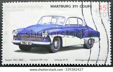 GERMANY - CIRCA 2003: A stamp printed in Germany shows a Wartburg 311 coupe, circa 2003 - stock photo