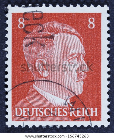GERMANY - CIRCA 1941 A stamp printed in Germany shows Adolph Hitler, circa 1941.  - stock photo