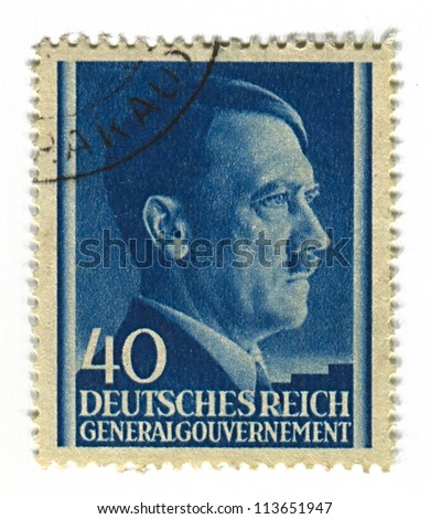GERMANY - CIRCA 1943: A stamp printed in Germany shows image of Adolf Hitler was an Austrian-born German politician and the leader of the Nazi Party, in blue, circa 1943. - stock photo