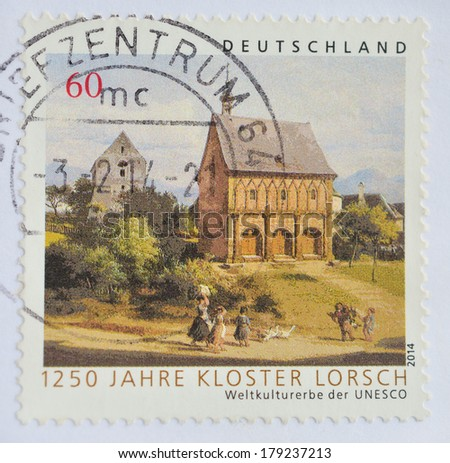 GERMANY - CIRCA 2014 : A stamp printed in Germany shows Jahre Kloster Lorsch ,circa 2014 - stock photo