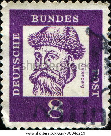 GERMANY - CIRCA 1961: A stamp printed in Germany shows Johannes Gensfleisch zur Laden zum Gutenberg - blacksmith, goldsmith, printer, and publisher who introduced the printing press, circa 1961 - stock photo