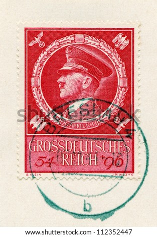 GERMANY - CIRCA 1942: A stamp printed in Germany shows portrait of Adolf Hitler, circa 1942. - stock photo