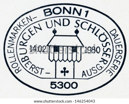GERMANY - CIRCA 1980: A stamp printed in Germany, shows postmark cities and fortresses, circa 1980 - stock photo