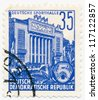 GERMANY - CIRCA 1953: A stamp printed in Germany, shows sports hall, series Five year plan, circa 1953 - stock photo
