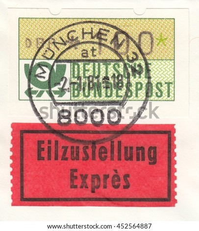 GERMANY-CIRCA 1981:A stamp printed in Germany,shows Standard postage stamp and mailing label Express.First day of sticker stamps automatic device in Munich,circa 1981. - stock photo