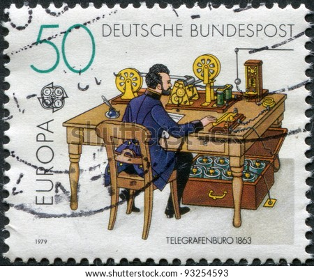 GERMANY - CIRCA 1979: A stamp printed in Germany, shows Telegraph office, in 1863, circa 1979 - stock photo