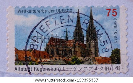 GERMANY - CIRCA 2011:A stamp printed in Germany shows the Cathedral Saint Peter, Regensburg (builds in 1273-1520),circa 2011 - stock photo