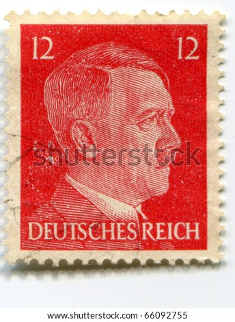 GERMANY - CIRCA 1941: A stamp printed in Nazi Germany shows portrait of Adolf Hitler, series, circa 1941 - stock photo