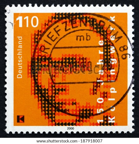 GERMANY - CIRCA 2000: a stamp printed in the Germany shows Adolph Kolping, Founder of the Catholic Unions of Journeymen, the Kolpingwork, circa 2000 - stock photo