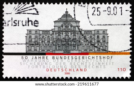 GERMANY - CIRCA 2000: a stamp printed in the Germany shows Federal Court of Justice, Karlsruhe, 50th Anniversary, circa 2000 - stock photo