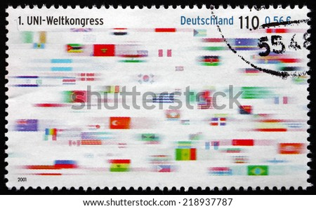 GERMANY - CIRCA 2001: a stamp printed in the Germany shows Flags, First World Congress of Union Network International, circa 2001 - stock photo