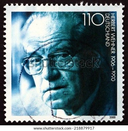 GERMANY - CIRCA 2000: a stamp printed in the Germany shows Herbert Wehner, German Politician, circa 2000 - stock photo