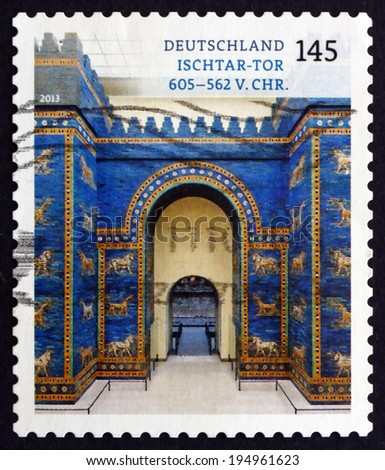 GERMANY - CIRCA 2013: a stamp printed in the Germany shows Ishtar Gate, was the Eighth Gate to the Inner City of Babylon, Treasures of German Museums, circa 2013 - stock photo