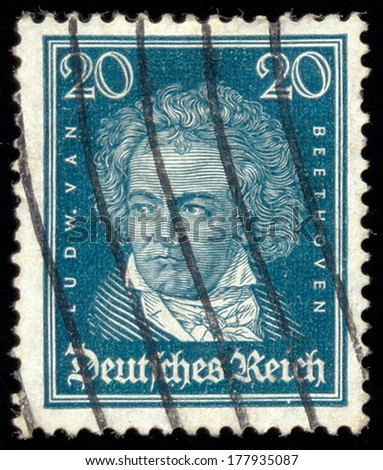 GERMANY - CIRCA 1927: A stamp printed in the Germany shows Ludwig van Beethoven, Composer, circa 1927 - stock photo
