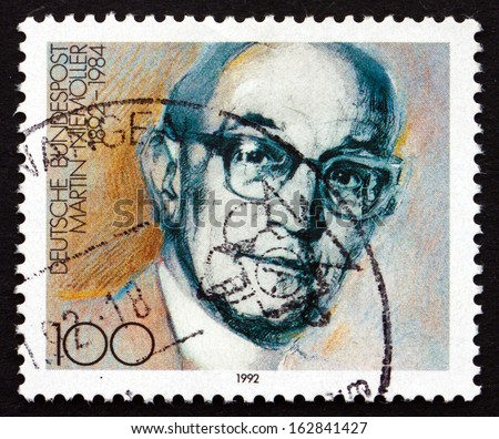 GERMANY - CIRCA 1992: a stamp printed in the Germany shows Martin Niemoller, Theologian, Lutheran Pastor, circa 1992 - stock photo