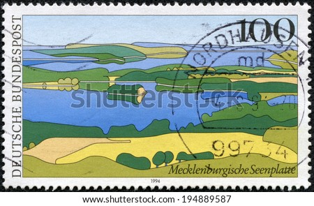 GERMANY - CIRCA 1994: a stamp printed in the Germany shows Mecklenburg Lake District, Scenic Region in Germany, circa 1994 - stock photo