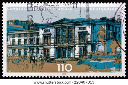 GERMANY - CIRCA 2000: a stamp printed in the Germany shows State Parliament of Saarland, Saarbrucken, circa 2000 - stock photo