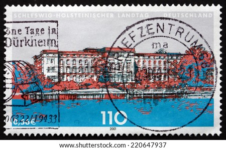 GERMANY - CIRCA 2001: a stamp printed in the Germany shows State Parliament of Schleswig-Holstein, Kiel, circa 2001 - stock photo