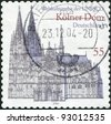 GERMANY - CIRCA 2003: A stamp printed in the Germany, shows the Cologne Cathedral, UNESCO World Heritage Site, circa 2003 - stock photo