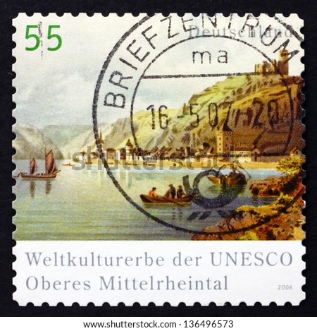 GERMANY - CIRCA 2006: a stamp printed in the Germany shows Upper Middle Rhine Valley UNESCO World Heritage Site, circa 2006 - stock photo