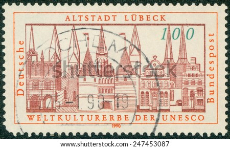 GERMANY - CIRCA 1990: a stamp printed in the Germany shows View of Lubeck, Addition to the UNESCO World Heritage List, 1987, circa 1990 - stock photo