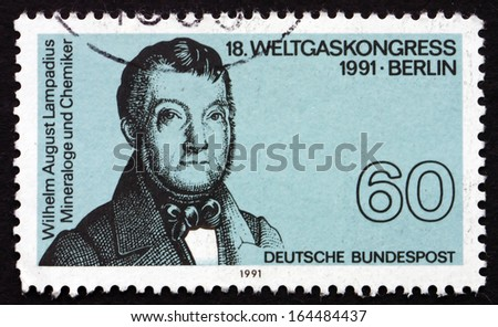 GERMANY - CIRCA 1991: a stamp printed in the Germany shows Wilhelm August Lampadius, Chemist, 18th World Gas Congress, Berlin, circa 1991 - stock photo