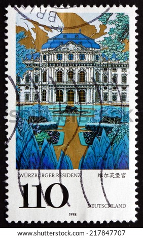 GERMANY - CIRCA 1998: a stamp printed in the Germany shows Wurzburg Palace, UNESCO World Heritage Site, circa 1998 - stock photo