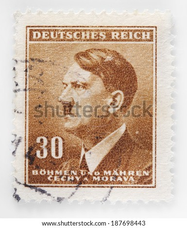 GERMANY - CIRCA 1942: A stamp printed in The Protectorate Czech and Moravia shows sepia portrait of Adolf Hitler, series, circa 1942  - stock photo