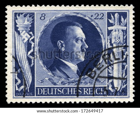 GERMANY - CIRCA 1943: A vintage German Reich Postage Stamp portraying an image Adolf Hitler, circa 1943. - stock photo