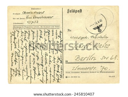 Germany - CIRCA 18 April 1940 - Old postcard with a nazi symbol,  - Germany, 1940 - stock photo