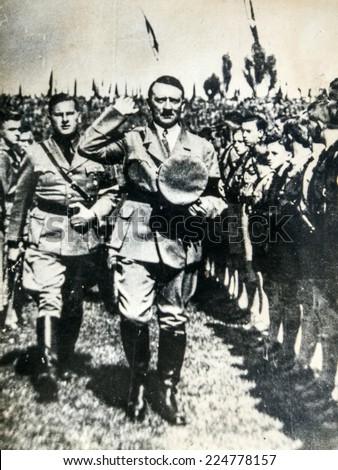 GERMANY - CIRCA 1934: Hitler with Baldur von Schirach, who was the leader of the 'Hitler Youth' (Hitlerjugend).  Reproduction of antique photo. - stock photo