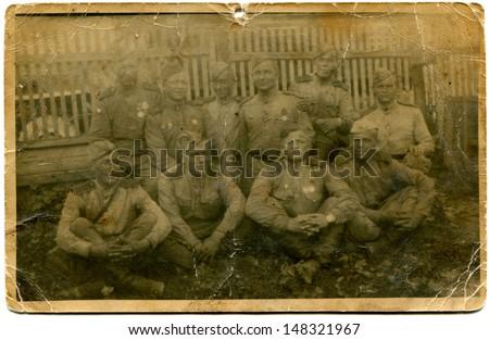 GERMANY - CIRCA MAY, 1945: Vintage photo shows group of sovet solders, Germany, May, 1945 - stock photo
