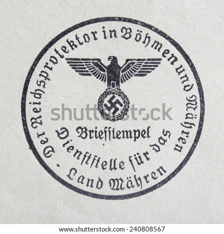 GERMANY CIRCA 1944 - NSDAP: real vintage print from World War II with symbol of party NSDAP, printed on paper, Germany, circa 1944  - stock photo