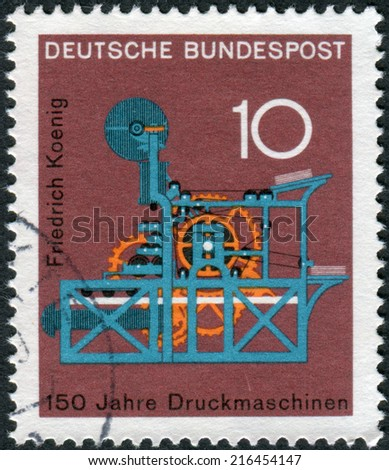 GERMANY - CIRCA 1968: Postage stamp printed in Germany, dedicated to the 150th anniversary of the Koenig printing press, circa 1968  - stock photo