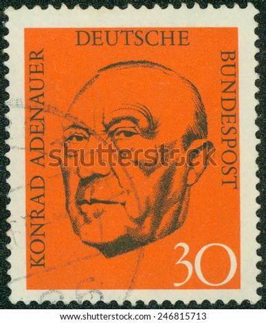 GERMANY - CIRCA 1968: Postage stamp printed in Germany, shows the first post-war German Chancellor, Konrad Adenauer, circa 1968 - stock photo
