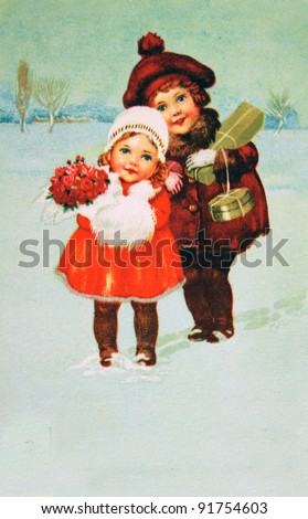 GERMANY - CIRCA 1964: Postcard printed in GDR shows Girls with Christmas gifts, circa 1964 - stock photo