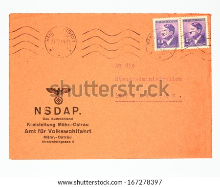 GERMANY, CIRCA 1944: real envelope from  World War II with stamps with portrait of Adolf Hitler and with printed symbol of Hitler's party NSDAP, Germany, circa 1944 - stock photo