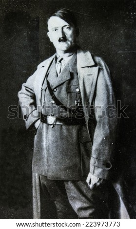 GERMANY - CIRCA 1940s: Studio portrait of Adolf Hitler, leader of nazi Germany. Reproduction of antique photo. - stock photo