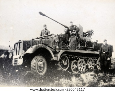 GERMANY - CIRCA 1940s: The SdKfz 6 (Sonderkraftfahrzeug 6) was a half-track military vehicle used by the German Wehrmacht during the Second World War. Reproduction of antique photo. - stock photo