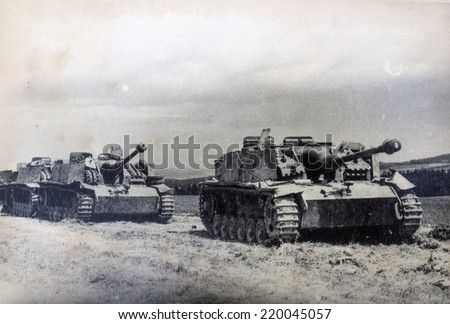 GERMANY - CIRCA 1940s: The Sturmgeschutz III (StuG III) assault gun was Germany's most produced armoured fighting vehicle during World War II. It was built on the chassis of the proven Panzer III tank - stock photo