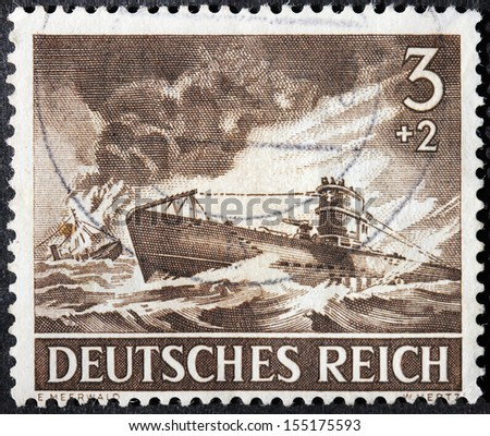 GERMANY - circa 1943: stamp printed by Germany, shows German submarine in action against convoy, circa 1943. - stock photo