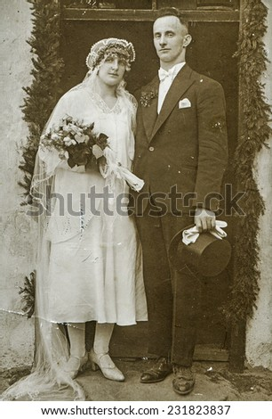 GERMANY, CIRCA TWENTIES: Vintage photo of newlyweds - stock photo